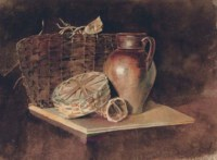 Still-life with a jug and wicker baskets