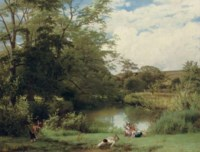 GATHERING WATERCRESS ON THE BANKS OF THE MOLE, SURREY
