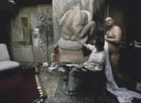 Lucien Freud working in his studio with Leigh Bowery, 1992