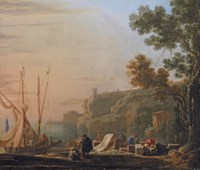 A Mediterranean coastal inlet with merchants unloading boats, a temple beyond