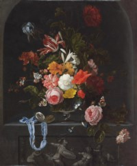 A parrot tulip, an iris, poppies, roses and other flowers in a glass vase with a pocket-watch and two butterflies in a niche with a classical sculpted low relief