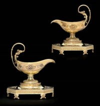 A PAIR OF FRENCH SILVER-GILT SAUCEBOATS AND STANDS FROM THE GRAND DUKE MIKHAIL PAVLOVICH SERVICE