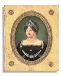 The Dowager Empress Maria Feodorovna (1759-1828), in black dress with tulle trim, wearing a diamond-encrusted tiara, brooch at corsage, four-strand pearl necklace, further long three-strand pearl necklace with gem-set clasps, worn across the shoulders, gem-set earring, and curling hair