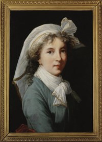 Self-Portrait, half-length, in a blue dress and red sash, with a white headdress