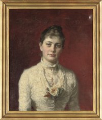 Portrait of Mrs H. Wichfeld (1849-1907), quarter-length, in a brown suit and green hat, a woodland beyond; and Portrait of E. Wichfeld Esq., quarter-length, in a white lace dress with a yellow rose
