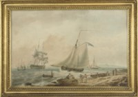 A coastal landscape with fisherfolk on a beach, with an English Naval frigate coming into port