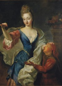 Portrait of a lady, three-quarter-length, in a blue silk dress with pink trim, attended by a page