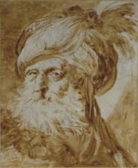 Head of an Oriental man wearing a turban