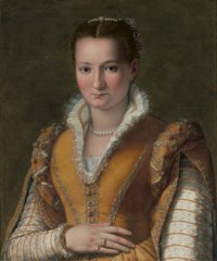 Portrait of a lady, possibly Bianca Capello de'Medici, half-length, in an embroidered gold dress and pearls