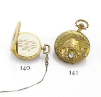 BOREL. A 14K TWO-COLOR GOLD AND DIAMOND HUNTER CASE KEYLESS LEVER POCKET WATCH WITH CHASED CASE