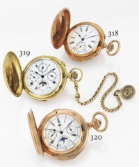 JACCARD.  A FINE 18K PINK GOLD HUNTER CASE MINUTE REPEATING TRIPLE CALENDAR CHRONOGRAPH KEYLESS LEVER POCKETWATCH