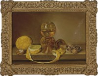 Still life of two glass goblets, lemons and mushrooms on a ledge