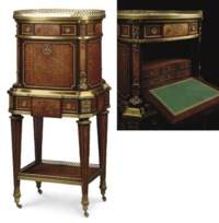 A LOUIS XVI STYLE ORMOLU-MOUNTED MAHOGANY, MARQUETRY AND PARQUETRY SECRETAIRE A ABATTANT