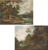 A hermit saint in a wooded river landscape, seated before his hermitage, two travellers on a bridge beyond; and A hermit saint in a wooded river landscape, praying outside his hermitage, a traveller on horseback crossing a brook beyond