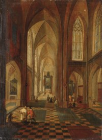 An interior of a Gothic church