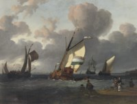 Shipping in choppy waters before a crowded beach, a town beyond
