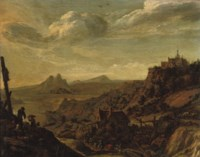 A Rhenish river landscape with travellers on a track, a church on a hill beyond