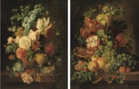 Tulips, poppies, carnations and other flowers in a vase with a bird's nest on a marble ledge; and Grapes, corn on the cobb, peaches, plums, raspberries and mixed flowers on a marble ledge