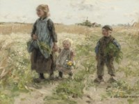 Children walking in the fields