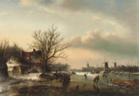 A winter's day with skaters on the ice and windmills in the distance