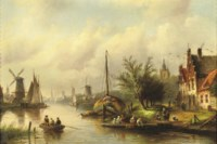 A ferry in a riverside town in summer