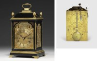 A George III small brass-mounted ebonised striking eight day table clock