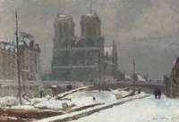Notre-Dame de Paris, vue prise du quai Saint-Michel, en hiver, par temps de neige