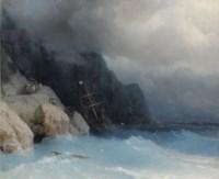 Survivors of a shipwreck on a rocky path