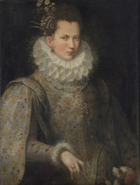 Portrait of a lady, half-length, in an embroidered gown and white collar, with a dog