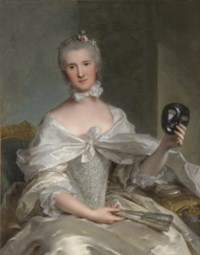 Portrait of a lady, thought to be Madame de Sêrent, seated, three-quarter-length, in a silver-embroidered silk dress, a fan in her right hand, a mask in her left