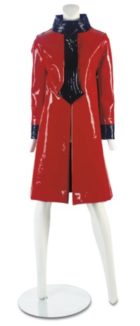 PIERRE CARDIN (B.1922) A 'COSSACK' INSPIRED RED VINYL COAT