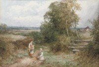 The little gleaners (illustrated); and An autumn afternoon in Warwickshire