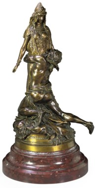 A THÉODORE RIVIÈRE CARTHAGE PATINATED BRONZE GROUP