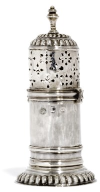 A WILLIAM & MARY SILVER LIGHTHOUSE CASTER