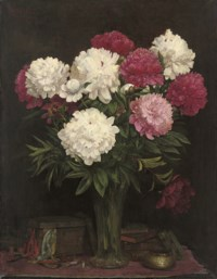 Pink and white carnations in a vase
