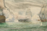 Trafalgar:  In the midst of battle, with H.M.S. Neptune's officers looking across at the dismasted hulk of the Belleisle