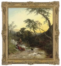Figures resting beside a stream