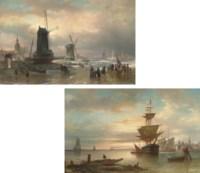 Skating before windmills, Amsterdam beyond ; and Sunrise on the Dutch coast