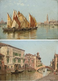 Trading vessels moored before the entrance to the Grand Canal; and A Venetian backwater