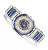 DANIEL ROTH, NUMERO 1 SPECTACULAR AND VERY RARE, 18K WHITE GOLD, DIAMOND AND SAPPHIRE-SET TONNEAU-SHAPED BRACELET WATCH