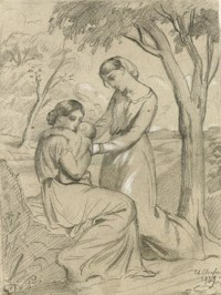 Two women, one sitting and holding a child, the other standing under a tree