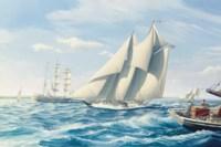 The fishing schooner Titania with the pilot boat Boston off Massachusetts