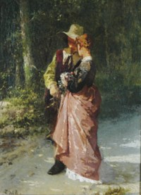 A couple walking on a path