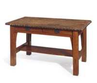 AN OAK AND LEATHER TWO-DRAWER LIBRARY TABLE,