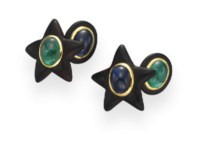 A PAIR OF EBONY, SAPPHIRE AND EMERALD CUFFLINKS, BY TAFFIN