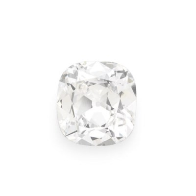 AN UNMOUNTED CUSHION-CUT DIAMO