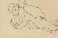 Liegender Akt mit angezogenem linken Bein