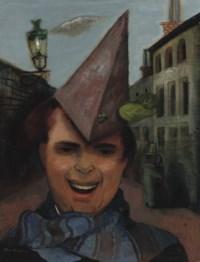 Selbstbildnis mit Papierhut und blauem Schal