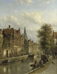 Townsfolk on a quay in Amsterdam with the oude kerk beyond