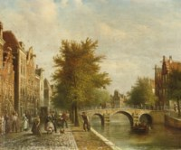 Daily activities along a Dutch canal
